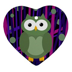 Green and purple owl Ornament (Heart)