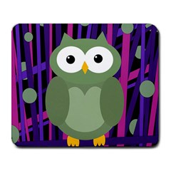 Green and purple owl Large Mousepads