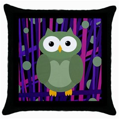 Green and purple owl Throw Pillow Case (Black)