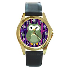 Green and purple owl Round Gold Metal Watch