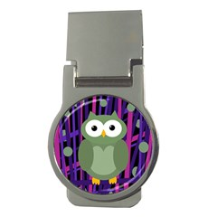 Green and purple owl Money Clips (Round)