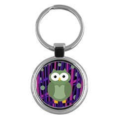 Green and purple owl Key Chains (Round)