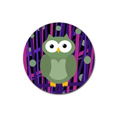 Green and purple owl Magnet 3  (Round)