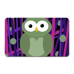 Green and purple owl Magnet (Rectangular)