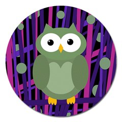 Green and purple owl Magnet 5  (Round)