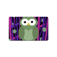 Green and purple owl Magnet (Name Card)