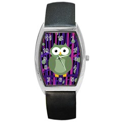 Green and purple owl Barrel Style Metal Watch