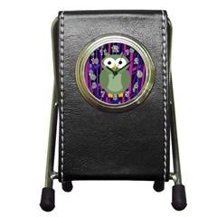 Green and purple owl Pen Holder Desk Clocks