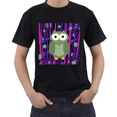 Green and purple owl Men s T-Shirt (Black) (Two Sided)