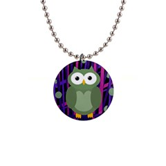 Green and purple owl Button Necklaces