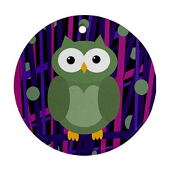Green and purple owl Round Ornament (Two Sides)
