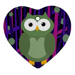 Green and purple owl Heart Ornament (2 Sides)