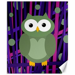 Green and purple owl Canvas 8  x 10