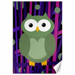 Green and purple owl Canvas 12  x 18
