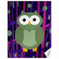 Green and purple owl Canvas 18  x 24