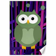 Green and purple owl Canvas 20  x 30