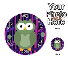 Green and purple owl Playing Cards 54 (Round)