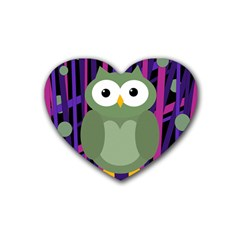 Green and purple owl Rubber Coaster (Heart)