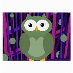 Green and purple owl Large Glasses Cloth