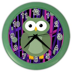 Green and purple owl Color Wall Clocks