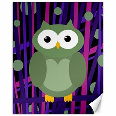 Green and purple owl Canvas 11  x 14
