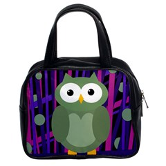 Green and purple owl Classic Handbags (2 Sides)