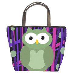 Green and purple owl Bucket Bags