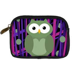 Green and purple owl Digital Camera Cases