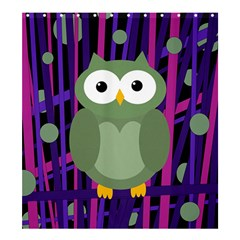 Green and purple owl Shower Curtain 66  x 72  (Large)
