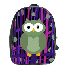 Green and purple owl School Bags(Large)