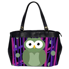 Green and purple owl Office Handbags (2 Sides)