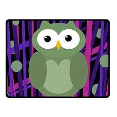 Green and purple owl Fleece Blanket (Small)