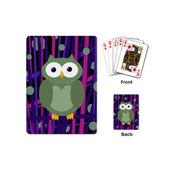 Green and purple owl Playing Cards (Mini)