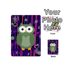 Green and purple owl Playing Cards 54 (Mini)