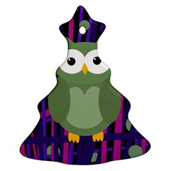 Green and purple owl Christmas Tree Ornament (2 Sides)