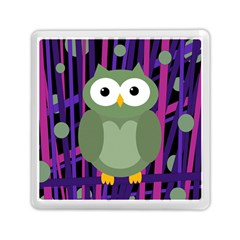 Green and purple owl Memory Card Reader (Square)