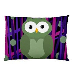 Green and purple owl Pillow Case (Two Sides)