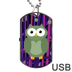Green and purple owl Dog Tag USB Flash (One Side)