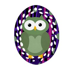 Green and purple owl Oval Filigree Ornament (2-Side)