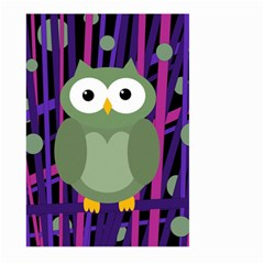 Green and purple owl Large Garden Flag (Two Sides)