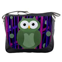 Green and purple owl Messenger Bags