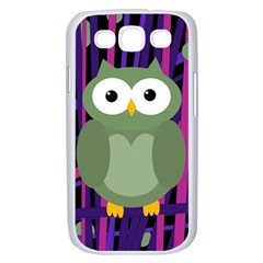 Green and purple owl Samsung Galaxy S III Case (White)
