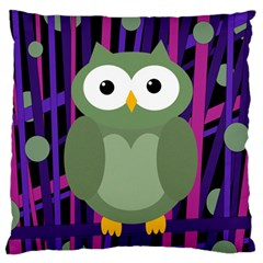 Green and purple owl Large Cushion Case (Two Sides)