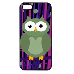 Green and purple owl Apple iPhone 5 Seamless Case (Black)