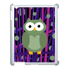 Green and purple owl Apple iPad 3/4 Case (White)