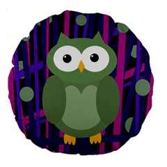 Green and purple owl Large 18  Premium Round Cushions