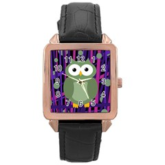 Green and purple owl Rose Gold Leather Watch