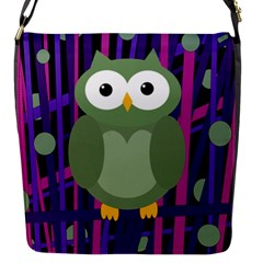 Green and purple owl Flap Messenger Bag (S)