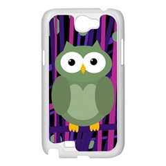 Green and purple owl Samsung Galaxy Note 2 Case (White)