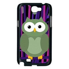 Green and purple owl Samsung Galaxy Note 2 Case (Black)